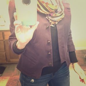 Plum canvas Jacket with scarf included